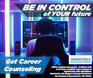"""Image of a young person playing computer video games with message """"BE IN CONTROL of YOUR future Get Career Counseling Niagara County Workforce Development Board"""""""